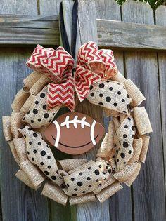 Chevron and Polka Dot Burlap Football Wreath by jeremiahdesigns, $35.00 @La Farme / Anne Arndt