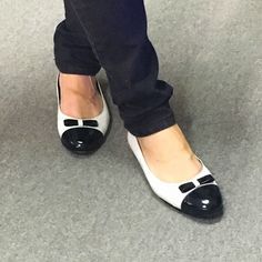 White and black patent leather ballerina. Handcrafted in Buenos Aires, Argentina.