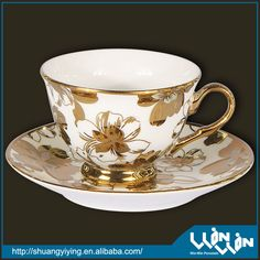 GOLDPLATING PORCELAIN GOLD RIM TEA CUP AND SAUCER WITH GOLDPLATING wwc13039