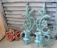 Sea Glass Blue Vintage Wall Sconces, Light Blue Up Cycled Candle Holders, Beach Cottage, Shabby Chic Wall Decor, Pair of SYROCO Sconces on Etsy, $30.00