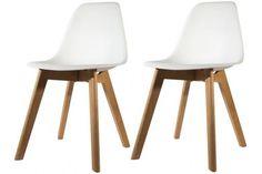 Lot de 2 chaises Scandinave Coque Blanche NORWAY