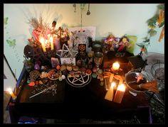 Mabon Altar 2010 by Wilhelmine on DeviantArt Wicca Altar, Wiccan, Magick, Witchcraft, Mabon, Samhain, Autumnal Equinox, Altar Cloth, Altar Decorations