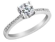 Diamond Solitaire Engagement Ring 4/5 Carat (ctw) in 18K White Gold (Certified)