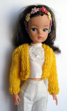 Golden yellow Sindy, Patch DOLLS short knitted cardigan fit Tammy Tressy Barbie