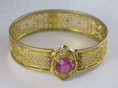 Signed JJ White Art Deco Pierced Work Bracelet ~ {This just a gold-plated, Vintage Art Deco costume piece, with a bubblegum pink glass stone, but HOW FUN for the Shabby look!}