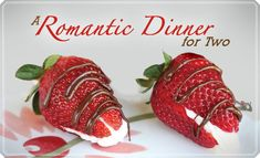 Romantic dinner for two, from the authors of Our Best Bites.  Filet mignon, roasted tomato pesto pasta, cream cheese filled strawberries.