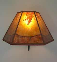 Mica Lamp Shade Classy Amber Mica Lamp Shade With Autumn Leaves Brass Wall Sconce Sue Design Inspiration