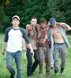Glenn (Steven Yeun), Rick Grimes (Andrew Lincoln), Daryl Dixon (Norman Reedus) and Shane Walsh (Jon Bernthal)