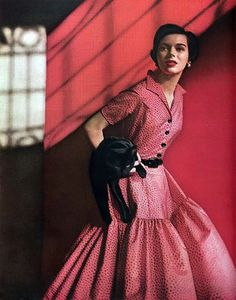 That is in fact a cat #vintage #pinkdress #1950s ~ETS