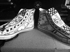 ff6731399d08 White Converse with sharpie designed music guitar  bass theme. Took my  son s white converse tennis shoes and drew on them with a black sharpie.