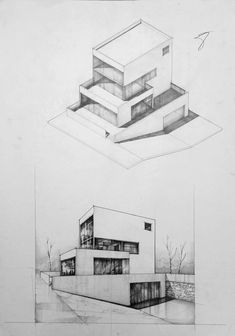 Architecture drawing and sketches vladbucur.ro arquitetura а Architecture Drawing Sketchbooks, Architecture Concept Drawings, Facade Architecture, Perspective Drawing Lessons, Perspective Art, House Sketch, House Drawing, Schematic Design, Industrial Design Sketch