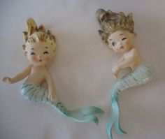 Vintage Lefton Mermaid Wall Plaques 1950s Lady Figurines Lovely Paper Label