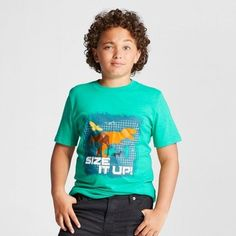 Cat & Jack Boys' Size It Up Graphic Short Sleeve T-Shirt - Cat & Jack Green