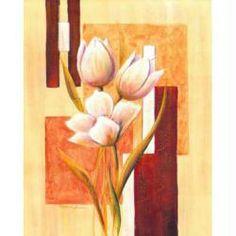 Image 3D Fleur - Fleurs blanches sur fond à carreaux