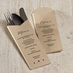 Bestekpochette eco als menukaart | Tadaaz #menu #communie #ecolook