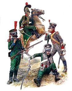 """Kingdom of Westfalia"" • Westfalia Rittmeister (Captain), Chevaulege-Garde, 1811 • Sergeant, Light Infantry, 1812 • Officer, 1st Hussars, 1812 • Sergeant, Artillery Train, 1812"