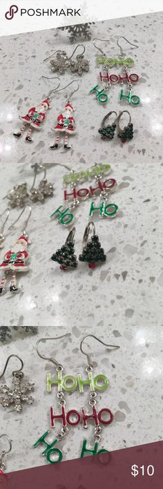 LAST CHANCE! Christmas Costume Jewelry Snowflakes, Santa, trees, oh my! This is a set of 4 Christmas earrings (costume style, nothing expensive!) and a stretchable snowflake ring. Buy now and you'll get plenty of wear this year and many more! This item will soon be going to a local consignment store and it will be taken off Poshmark.  Make me an offer!  Bundle more items to save! Jewelry Earrings
