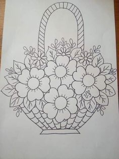 Hand Embroidery Design Patterns, Hand Embroidery Videos, Embroidery Flowers Pattern, Vintage Embroidery, Art Drawings Beautiful, Art Drawings For Kids, Art Drawings Sketches Simple, Flower Art Drawing, Flower Doodles