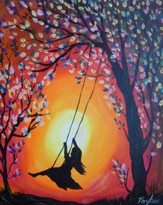 """Girl on a Swing"" - Painting with Payton Sillouette Painting, Swing Painting, Shadow Painting, Painting Of Girl, Painting & Drawing, Easy Canvas Art, Oil Pastel Art, Silhouette Art, Tree Art"