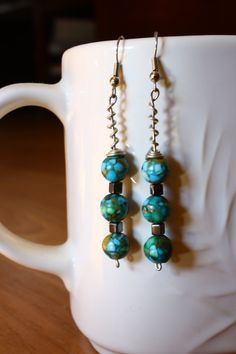 Blue Marbled/ Mosaic Beaded Wire Wrapped Dangle by ConceptAna