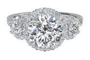 Three-Stone Halo Diamond Engagement Ring | Ritani Unique Engagement Rings