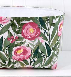 Watercolor Floral Storage Basket Organizer Bin Storage Bin | Etsy Fabric Bunting, Pennant Banners, Bunting Banner, Fabric Storage Baskets, Bin Storage, Deer Nursery, Nursery Decor, Basket Organization, Watercolor Flowers