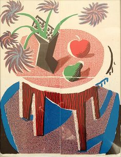 David Hockney. Flowers, apples and pear on a table, 1986