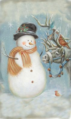 100% Hand-painted Snowman with Horse and Birds Snowman Oil ...