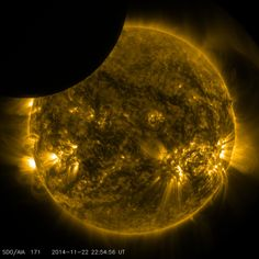 ~ Moon Transiting The Sun ~  On Nov. 22, 2014 from 5:29 to 6:04 p.m. EST., the moon partially obscured the view of the sun from NASA's Solar Dynamics Observatory. This phenomenon, which is called a lunar transit, could only be seen from SDO's point of view.   In 2014, SDO captured four such transits -- including its longest ever recorded, which occurred on Jan. 30, and lasted two and a half hours. By NASA Goddard Space Flight Center