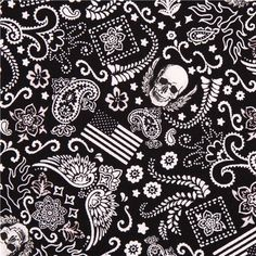 black mini skull fabric by Timeless Treasures USA