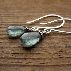 Watery Moss Aquamarine & Sterling Silver Wire Wrapped Drop Earrings, March Birthstone