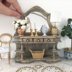 Miniature rustic french oak sideboards with antique brass drawer pulls