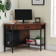 Features:  -Matte black finished metal base.  -Slatted mission design.  -Drop front drawer for laptop storage or keyboard.  -Lower shelf for computer tower or printer.  -Mission oak finish.  -Ball-bea                                                                                                                                                      More