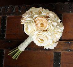 Cream Peony Ranunculus Silk Bouquet in Ivory by Lilywinkel on Etsy