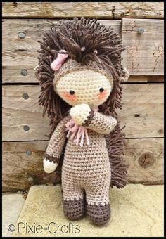 Handmade Crochet Amigurumi Polly Prickles Hedgehog Doll  - Lalylala- cute Gift idea - 11 inches tall **MADE TO ORDER**