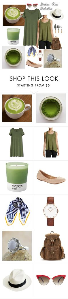 """Green Tea Matchta"" by annajubilee ❤ liked on Polyvore featuring Gap, Jethro, Pantone, Lucky Brand, Black, Daniel Wellington, NOVICA, J.Crew and Gucci"