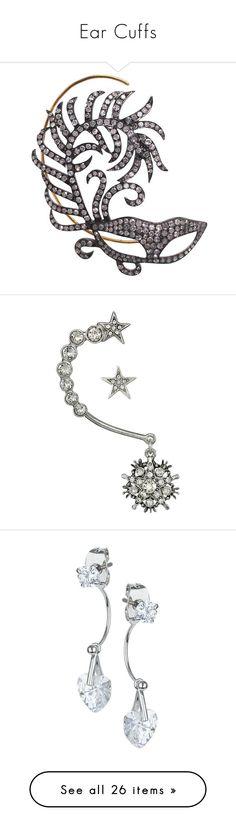 """""""Ear Cuffs"""" by thesassystewart ❤ liked on Polyvore featuring jewelry, earrings, hook earrings, 18k jewelry, feather earrings, 18 karat gold jewelry, diamond jewelry, silver, nickel free earrings and nickel free jewelry"""