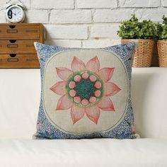 Decorative Lotus Flower Boho Pillow by HopIntoTheRabbitHole
