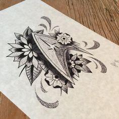 Fine line dotwork, Star Trek inspired dotwork logo, A4 print. (Not tattoo flash) - please do not reproduce.