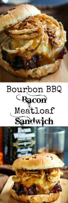 Delicious bacon topped meatloaf grilled in a Bourbon BBQ Sauce and topped off with onion straws makes this Bourbon BBQ Bacon Meatloaf Sandwich a hearty meal! Bourbon BBQ Bacon Meatloaf Sandwich wow say that three times fast. I know the name is long but Bacon Meatloaf, Meatloaf Sandwich, Grilled Meatloaf, Meatloaf Burgers, Leftover Meatloaf, Pizza Sandwich, Sandwich Ideas, Grilled Sandwich, Chicken Sandwich