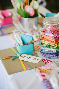 Break out the crayons. | 35 Incredibly Creative Ways To Add Color To Your Wedding cover the table with white butcher paper and let guests channel their inner Picasso