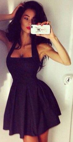 Square Neck Solid Halter Sleeveless Backless Slim Mini Dress