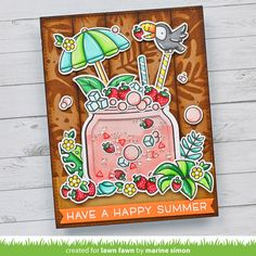 Lawn Fawn Video {7.1.21} Marine's Tropical Drink Shaker Card - Lawn Fawn Strawberry Cocktails, Lawn Fawn Blog, Paper Craft Making, Lawn Fawn Stamps, Tropical Vibes, Tropical Paradise, Cricut Cards, Shaker Cards, Happy Summer