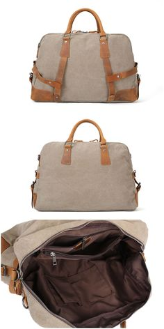 Canvas Tote Duffle Travel Handbag Weekend Bag Features: • Fabric Lining • Inside zipper pocket • It can hold a 17'' laptop, iPad, A4 document files, magazines, etc. ********************** Specificatio