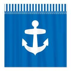 cool sea blue shower curtain with big white anchor and sailor stripe border