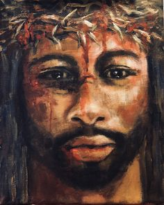 Inspired to paint a Black Jesus. I tried to convey His emotion through His eyes. Jesus Christ Painting, Jesus Art, Christian Symbols, Christian Art, Religious Images, Religious Art, Black Jesus Pictures, Blacks In The Bible, Jesus Tattoo