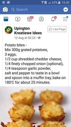 Vegetable Dishes, Vegetable Recipes, Vegetarian Recipes, Braai Recipes, Cooking Recipes, Kos, Potato Bites, Good Food, Yummy Food
