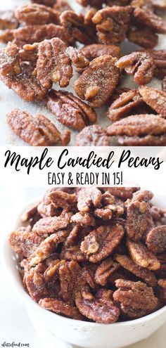 My Note: No EGG WHITES! These easy maple candied pecans are made with maple syrup, brown sugar, white sugar, and cinnamon! Plus, these homemade cinnamon sugared nuts are ready in less than 15 minutes. Homemade candied pecans for the fall dessert win. Maple Syrup Recipes, Walnut Recipes, Pecan Recipes, Fall Recipes, Recipes With Monk Fruit Sweetener, Maple Syrup Candy Recipe, Maple Dessert Recipes, Candy Recipes, Mini Desserts