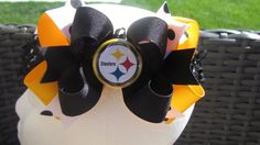 Pittsburgh Steelers Hair Bow by CutiePahTootieBows on Etsy, $6.49