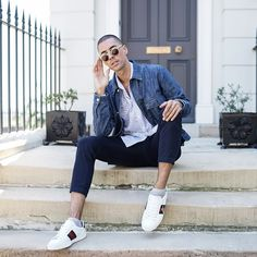 Mens Fashion Style & Outfit inspo by Blogger MR TURNER. Striped Blue and White shirt by Saba, Navy Blue chinos by Dr. Denim, with Gucci Ace sneakers for Spring Summer.